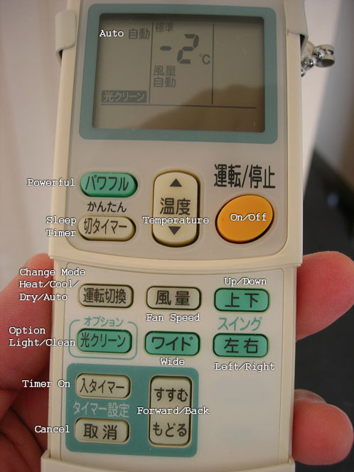 Japanese AC Remote with Labels